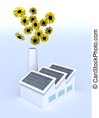 fleurs, panneaux, usine, solaire