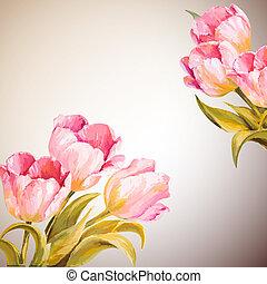 fleurs, printemps, invitation, gabarit