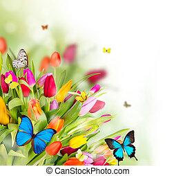 fleurs, printemps, papillons, beau
