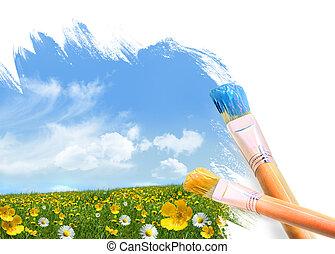 fleurs sauvages, entiers, peinture, champ