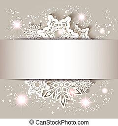 flocon de neige, étoile, noël carte, salutation
