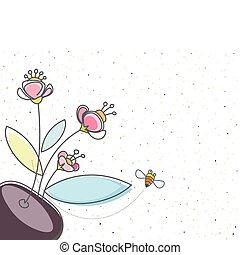 floral, abeille