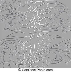floral, arrière-plan., papier peint, argent, vecteur