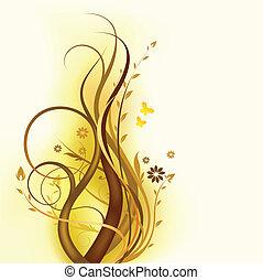 floral, brun, conception