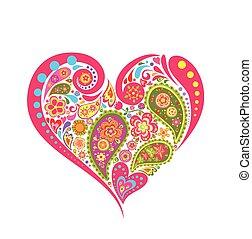 floral, forme coeur, paisley