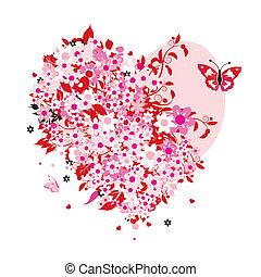 floral, forme coeur