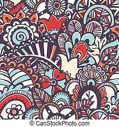 floral, griffonnage, print., seamless, arrière-plan.