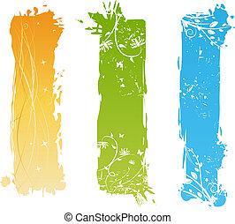 floral, grungy, bannières, éléments, vertical