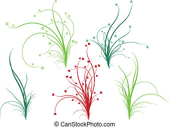 floral, herbe, vecteur