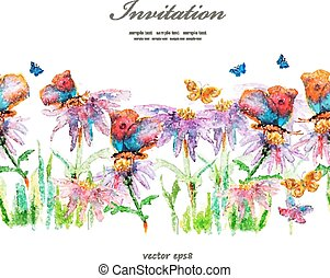 floral, mignon, aquarelle, border.