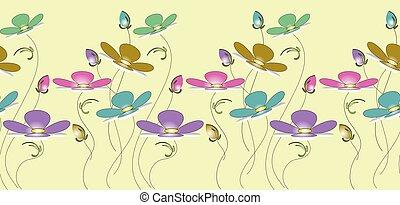 floral, mignon, frontière, seamless