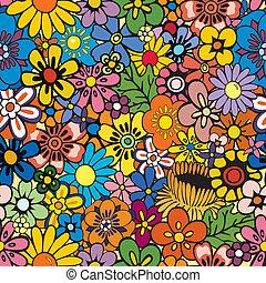 floral, répéter, fond