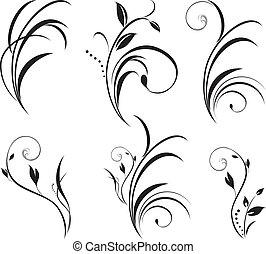 floral, sprigs., décor, éléments