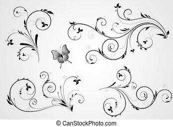 floral, tourbillon, conceptions, ensemble