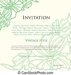 floral, vecteur, arrière-plan vert, design.