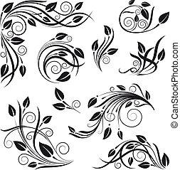 floral, vecteur, mettez stylique, éléments