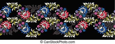 floral, vendange, frontière, seamless
