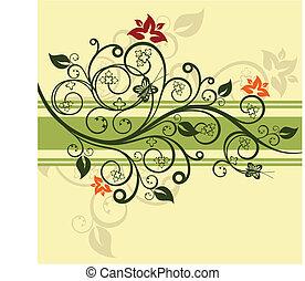 floral, vert, vecteur, conception, illustration