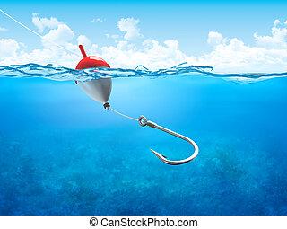 flotteur, sous-marin, vertical, crochet, ligne pêche