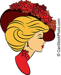 flowers., girl, chapeau, mode