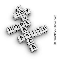 foi, paix, amour, joie, espoir