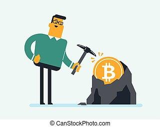 fonctionnement, bitcoin, mine, pic, caucasien, homme