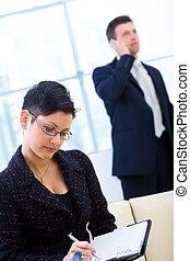 fonctionnement, businesspeople, bureau