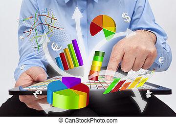 fonctionnement, tablette, -, diagrammes, informatique, homme affaires, produire