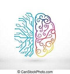 fonctions, créativité, analytique, cerveau, vs, gauche, droit, concept, lignes, résumé