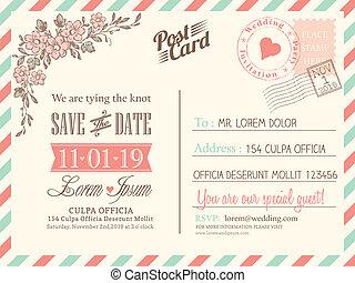 fond, carte postale, vendange, mariage, vecteur, gabarit, invitation