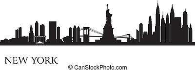 fond, horizon, ville, york, nouveau, silhouette