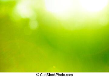 fond, nature, résumé, flare)., vert, (sun