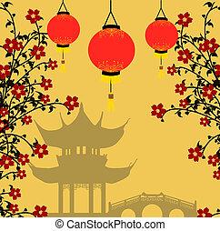 fond, style, vecteur, asiatique, illustration