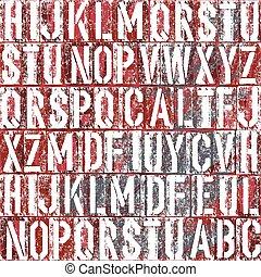 fond, vieux, vecteur, type, letterpress