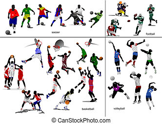 football, football, illustration, vecteur, jeux, volleyball., basket-ball, ball.