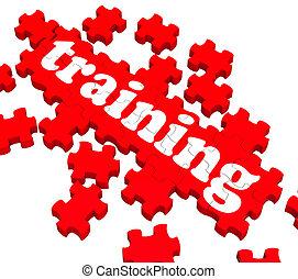 formation, puzzle, projection, entraînement, business