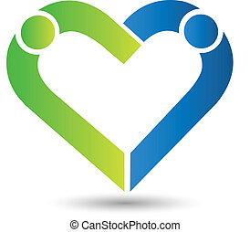 forme coeur, amis, business, logo