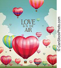 forme coeur, chaud, ballons, air