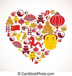 forme coeur, porcelaine, icônes