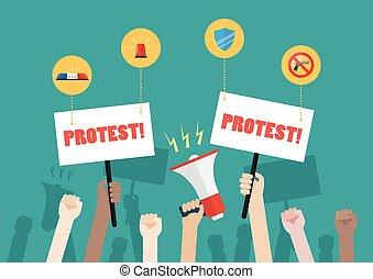 foule, icônes, protesters, sécurité, gens