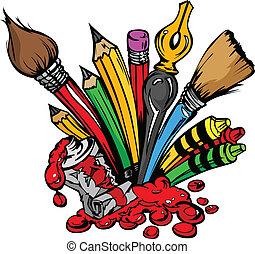 fournitures, vecteur, art, dessin animé