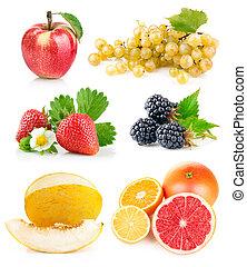 frais, feuilles, ensemble, vert, fruits