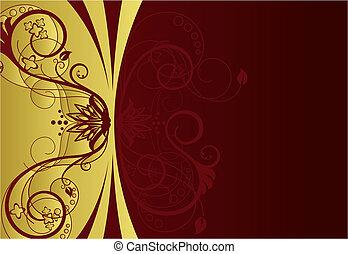 frontière florale, conception, rouges, or