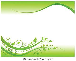 frontière florale, vert, illustration