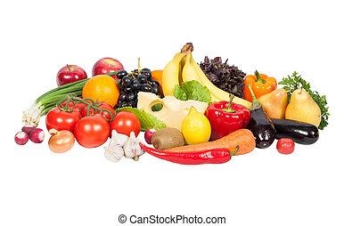 fruits, frais, isolé, légumes, blanc