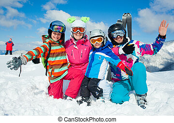fun., heureux, hiver, famille, ski