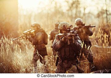 fusils, soldats, champ