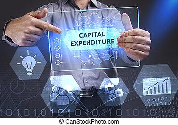 future:, mot, réseau, tablette, concept., internet, jeune, virtuel, business, dépense, capital, homme affaires, projection, technologie
