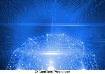 futuriste, connexion, brillant, 3d
