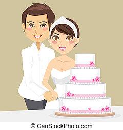 gâteau, découpage, mariage
